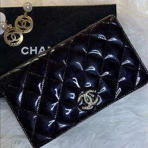 Chanel Patent Leather Long Wallet /  Check holder